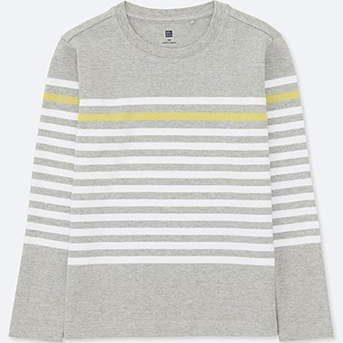 BOYS STRIPED CREWNECK LONG-SLEEVE T-SHIRT, GRAY, medium