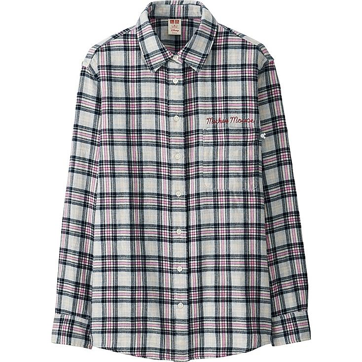 WOMEN Disney Project FLANNEL LONG-SLEEVE SHIRT, GRAY, large
