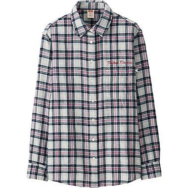 WOMEN Disney Project FLANNEL LONG-SLEEVE SHIRT, GRAY, medium