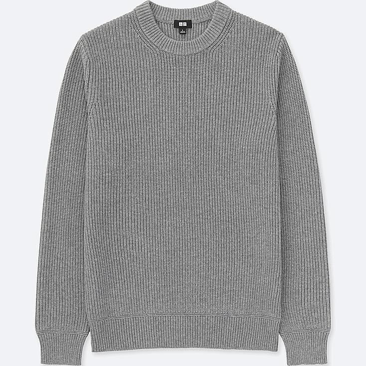 MEN RIBBED CREWNECK SWEATER, GRAY, large