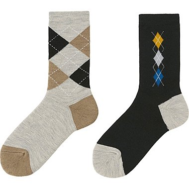 WOMEN HEATTECH SOCKS 2 PAIRS (PILE ARGYLE), GRAY, medium