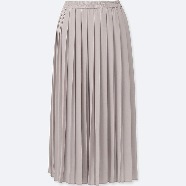 WOMEN HIGH WAIST CHIFFON PLEATED MIDI SKIRT, GRAY, large