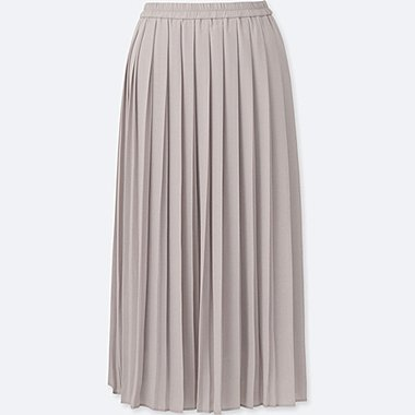WOMEN HIGH WAIST CHIFFON PLEATED MIDI SKIRT, GRAY, medium