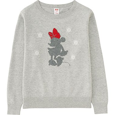 KIDS DISNEY COLLECTION CREW NECK LONG SLEEVE SWEATER, GRAY, medium