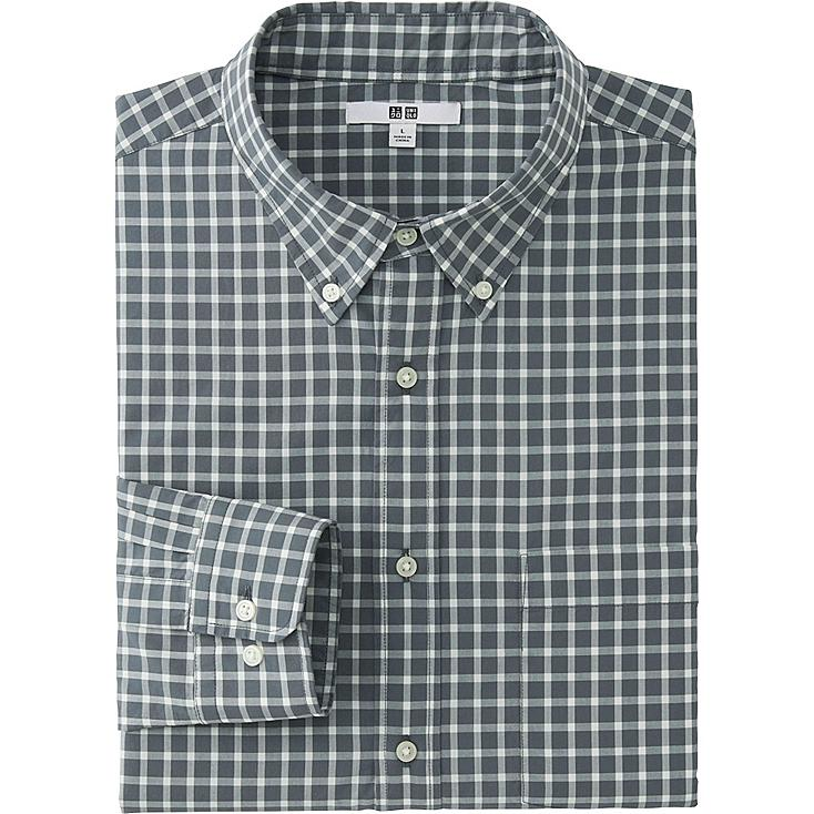 MEN EXTRA FINE COTTON BROADCLOTH CHECKED LONG SLEEVE SHIRT, GRAY, large