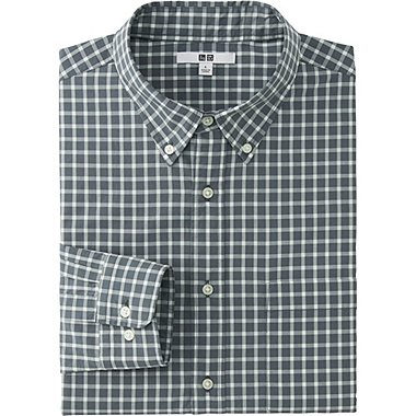 MEN EXTRA FINE COTTON BROADCLOTH CHECKED LONG SLEEVE SHIRT, GRAY, medium