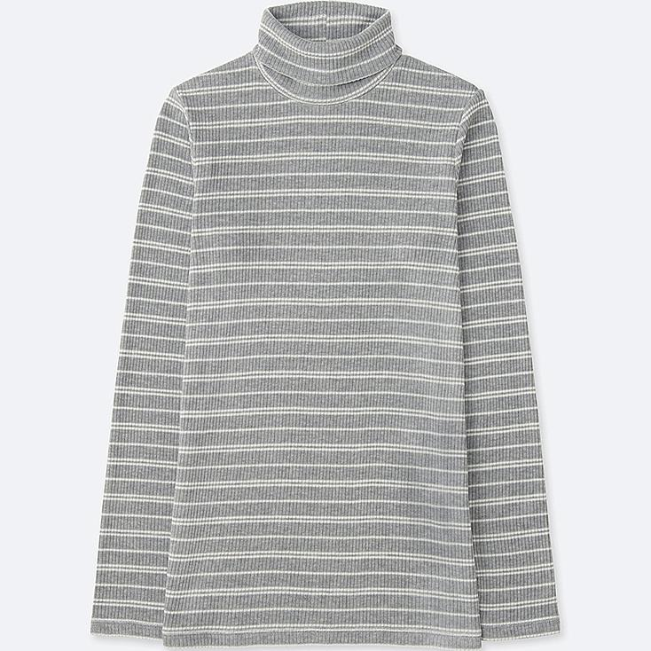 WOMEN Ribbed Striped Turtle Neck Long Sleeve T-Shirt