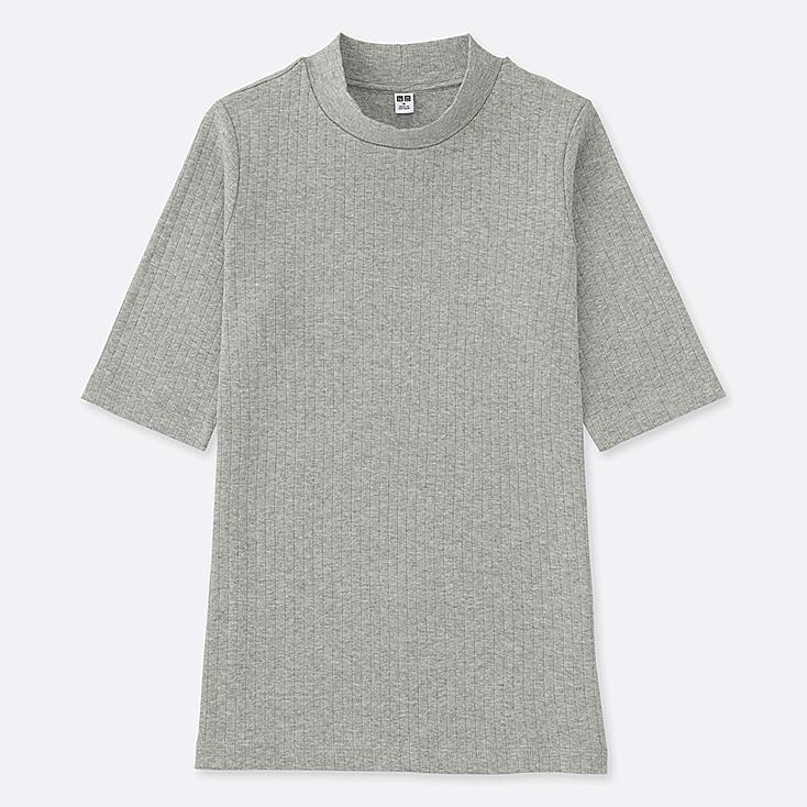 T-Shirt Côtelé Col Montant Demi-Manches FEMME