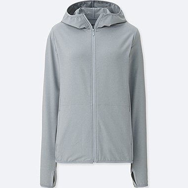 WOMEN AIRism UV CUT MESH FULL-ZIP HOODIE, GRAY, medium