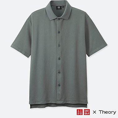 MEN DRY COMFORT FULL-OPEN POLO SHIRT (THEORY), GRAY, medium