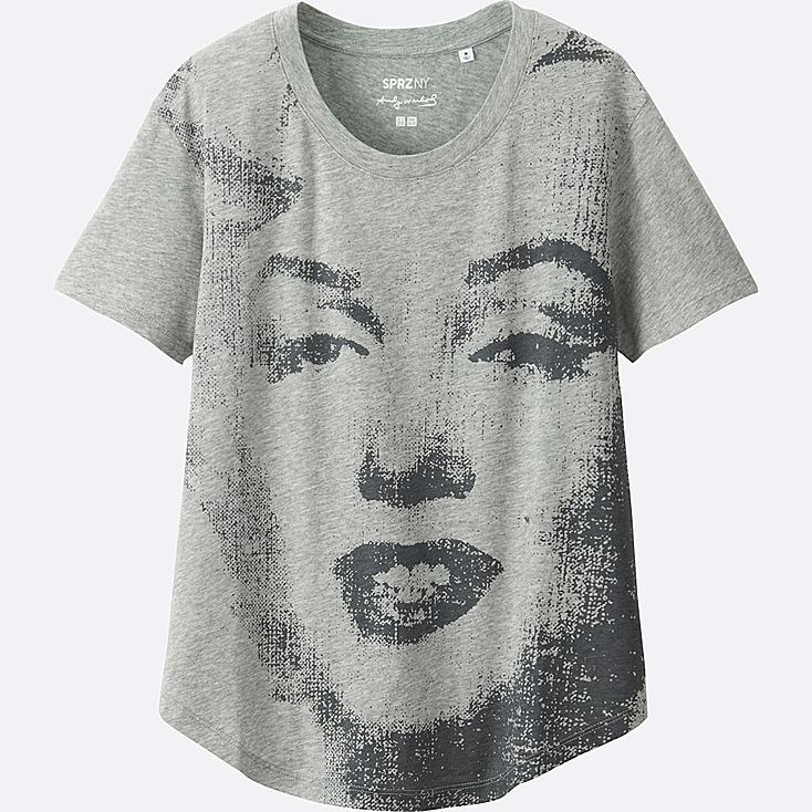 WOMEN SPRZ NY SHORT-SLEEVE GRAPHIC T-SHIRT (ANDY WARHOL), GRAY, large