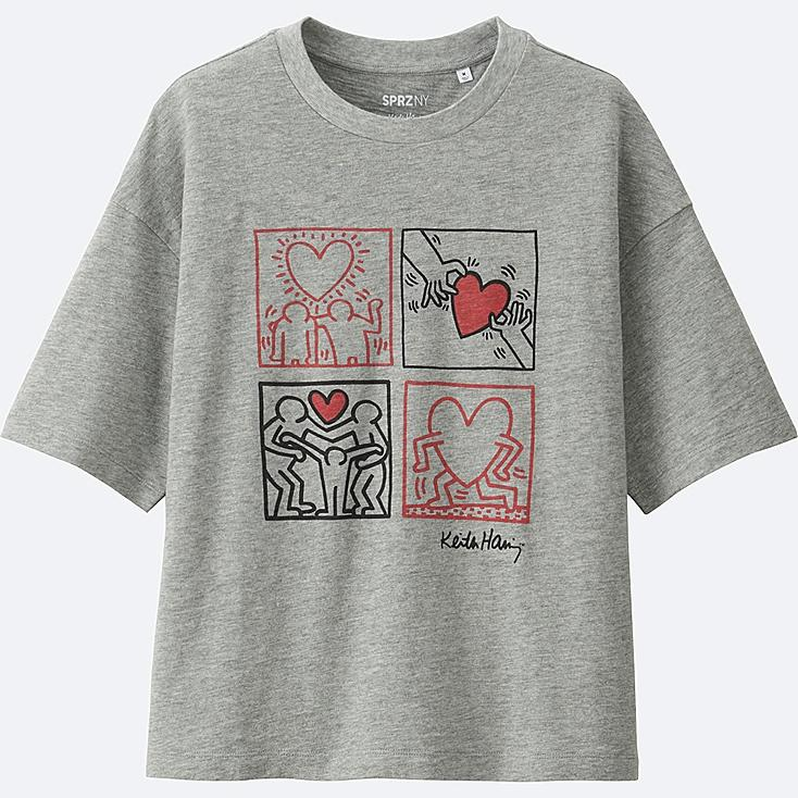 WOMEN SPRZ NY SHORT-SLEEVE GRAPHIC T-SHIRT (KEITH HARING), GRAY, large