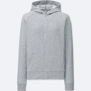 WOMEN AIRism STRETCH LONG SLEEVE FULL-ZIP HOODIE, GRAY, medium