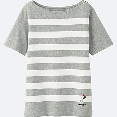 WOMEN PEANUTS SHORT SLEEVE GRAPHIC T-SHIRT, GRAY, medium
