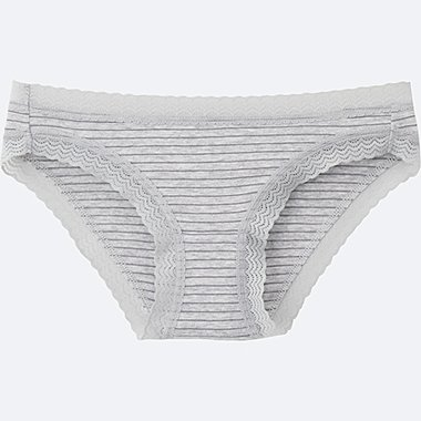 WOMEN BIKINI (STRIPE), GRAY, medium