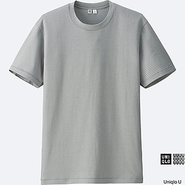 MEN U SUPIMA COTTON STRIPED SHORT-SLEEVE T-SHIRT, GRAY, medium