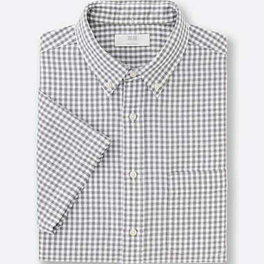 MEN LINEN COTTON CHECKED SHORT SLEEVE SHIRT, GRAY, medium