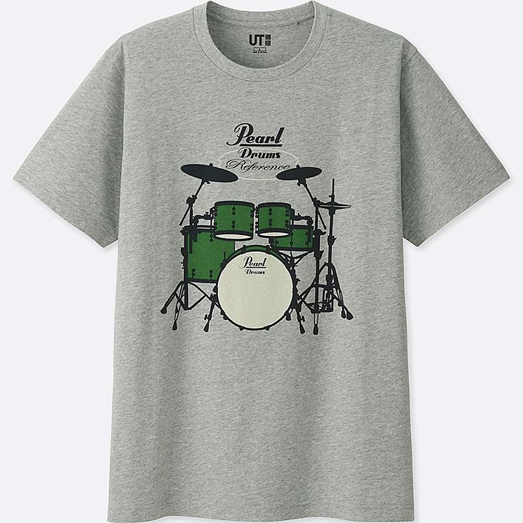 THE BRANDS SHORT-SLEEVE GRAPHIC T-SHIRT (PEARL DRUM), GRAY, large