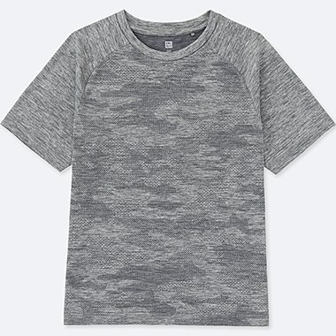 KIDS DRY EX CREWNECK SHORT-SLEEVE T-SHIRT, GRAY, medium
