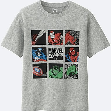 BOYS MARVEL COLLECTION SHORT SLEEVE GRAPHIC TEES, GRAY, medium