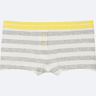 WOMEN BOYS SHORTS (STRIPE), GRAY, medium