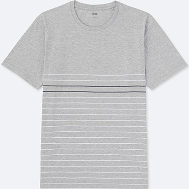 MEN Washed Striped Crew Neck Short Sleeve T-Shirt
