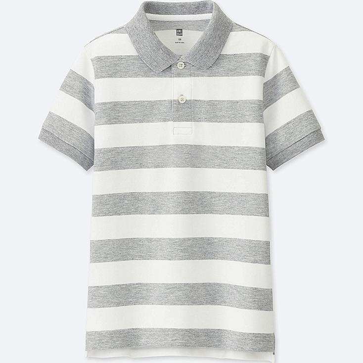 BOYS Striped Dry Pique Short Sleeve Polo Shirt