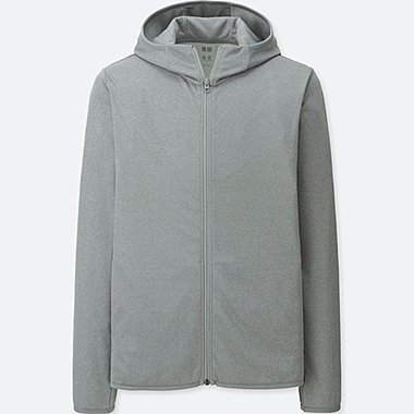 MEN DRY-EX LONG SLEEVE FULL-ZIP HOODIE, GRAY, medium