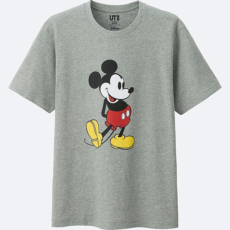 MEN MICKEY STANDS SHORT SLEEVE GRAPHIC T-SHIRT, GRAY, large