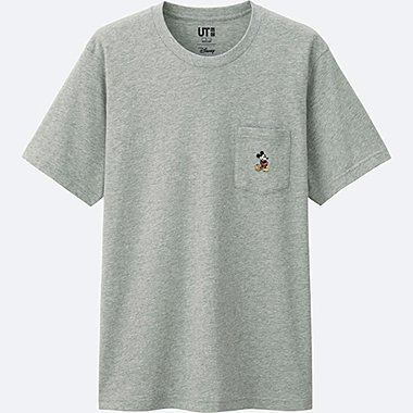 MICKEY STANDS SHORT SLEEVE POCKET T-SHIRT, GRAY, medium
