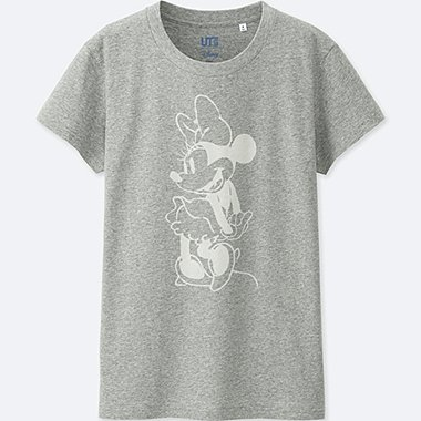 WOMEN MICKEY BLUE SHORT SLEEVE GRAPHIC T-SHIRT, GRAY, medium