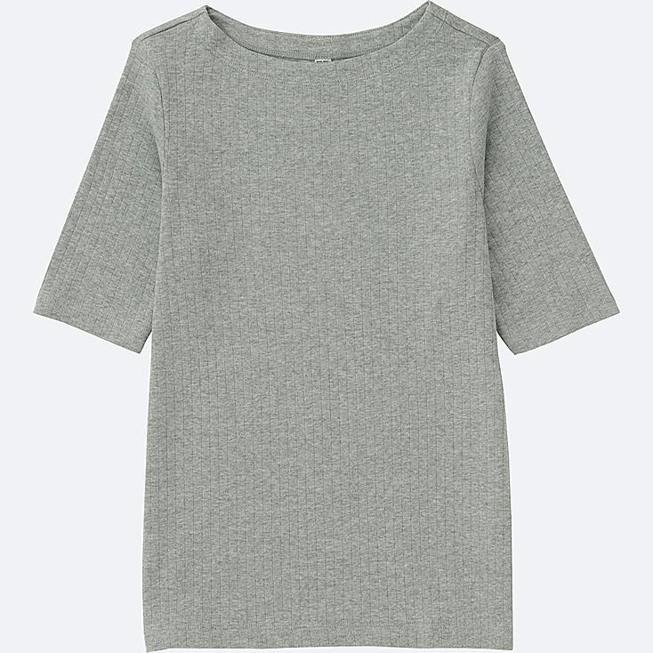 WOMEN RIBBED BOAT NECK HALF SLEEVE T-SHIRT, GRAY, large