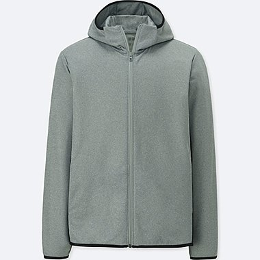 MEN DRY-EX LONG-SLEEVE FULL-ZIP HOODIE, GRAY, medium