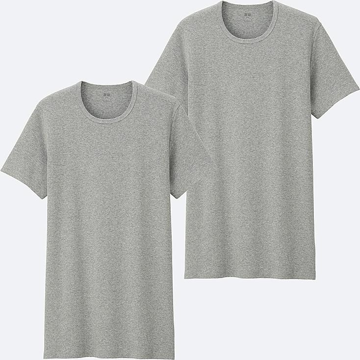 MEN SUPIMA® COTTON RIBBED T-SHIRT (SHORT SLEEVE) 2P, GRAY, large