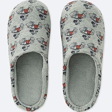 MICKEY TRAVELS SLIPPERS, GRAY, medium