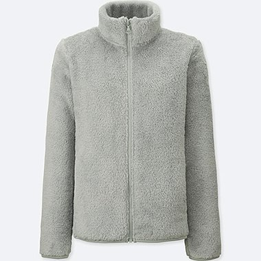 WOMEN FLUFFY YARN FLEECE FULL-ZIP JACKET
