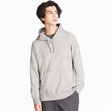 MEN LONG-SLEEVE SWEAT PULLOVER HOODIE, GRAY, medium