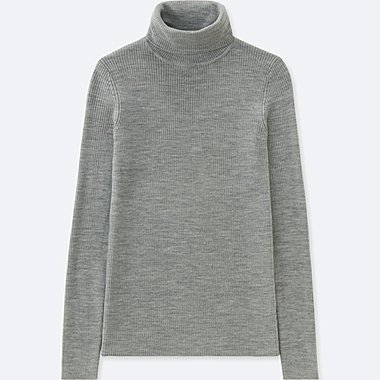 WOMEN EXTRA FINE MERINO RIBBED TURTLE NECK SWEATER