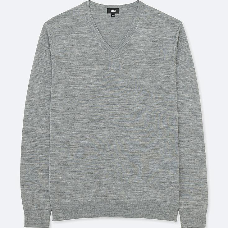 PULL COL V MÉRINOS EXTRA FIN MANCHES LONGUES HOMME