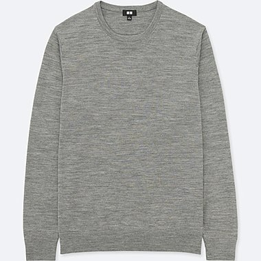 MEN EXTRA FINE MERINO CREWNECK LONG-SLEEVE SWEATER, GRAY, medium