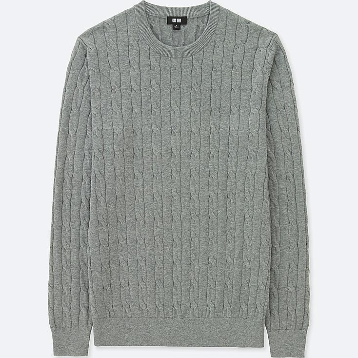 MEN COTTON CASHMERE CABLE CREW NECK SWEATER | UNIQLO US