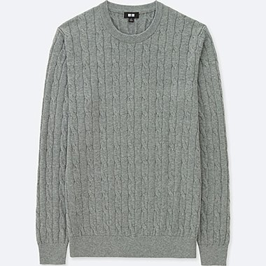 MEN COTTON CASHMERE CABLE CREW NECK SWEATER, GRAY, medium