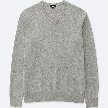 MEN CASHMERE V NECK LONG SLEEVE SWEATER