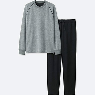MEN PILE-LINED SWEAT SET, GRAY, medium