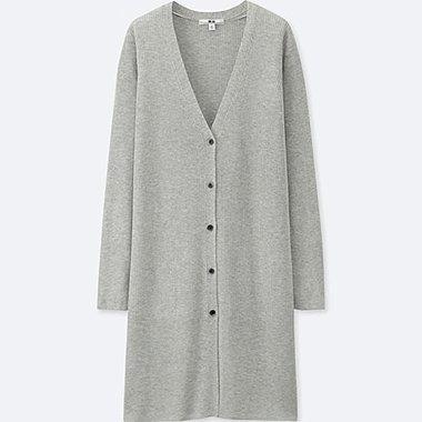 WOMEN RIBBED V NECK LONG CARDIGAN