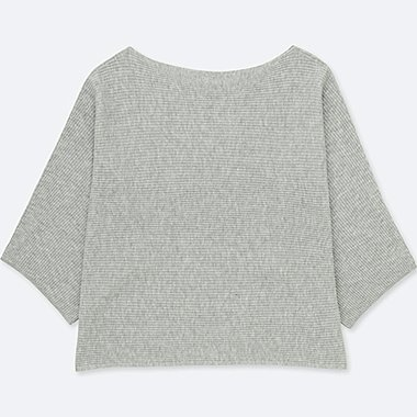 WOMEN RIBBED WIDE-SLEEVE SWEATER, GRAY, medium