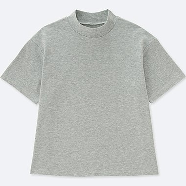WOMEN OVERSIZE HIGH-NECK SHORT-SLEEVE T, GRAY, medium
