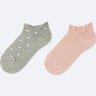 GIRLS SHORT SOCKS (2 PAIRS), GRAY, medium