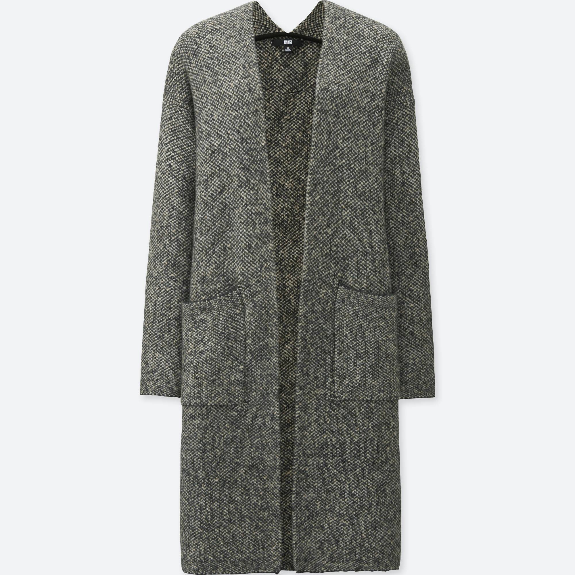 WOMEN TWEED KNITTED LONG SLEEVE COAT | UNIQLO US