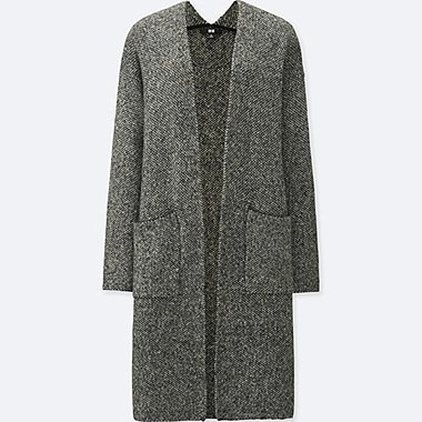 WOMEN TWEED KNITTED LONG SLEEVE COAT